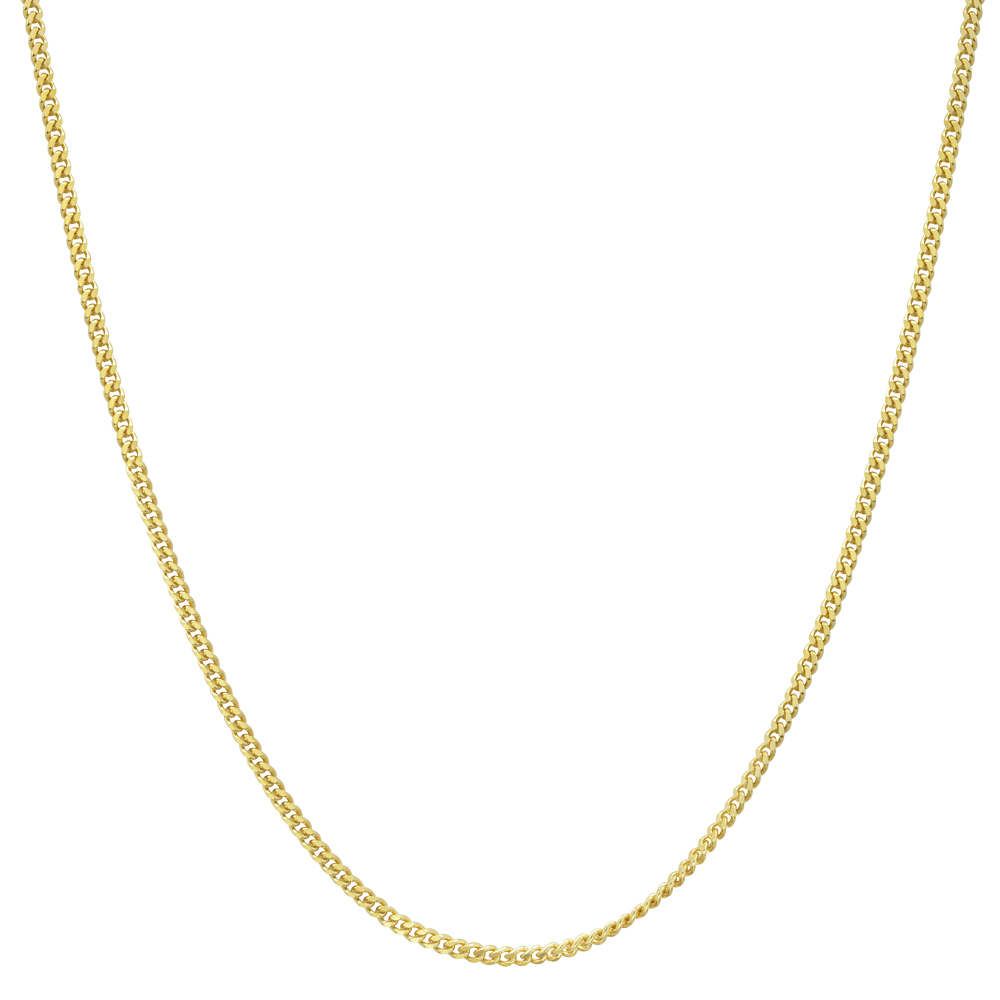 18k yellow gold thin curb link chain necklace 20