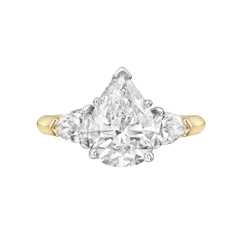 Estate 214 Carat Pearshaped Diamond Engagement Ring