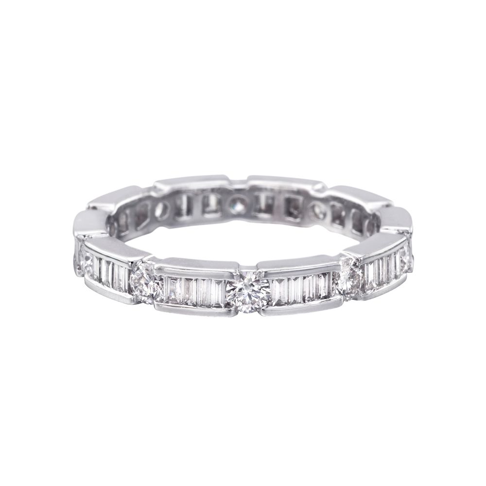 Round Amp Baguette Diamond Eternity Band 0 5 Ct Tw