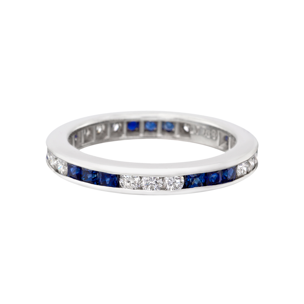 Channel Set Sapphire Diamond Eternity Band
