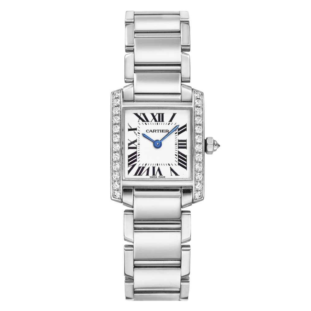 We1002s3 Pre Owned Cartier Tank Francaise Small White