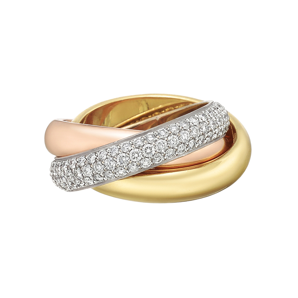Cartier Trinity Wedding Ring: Cartier Tricolored Gold Pavé Diamond Trinity Ring
