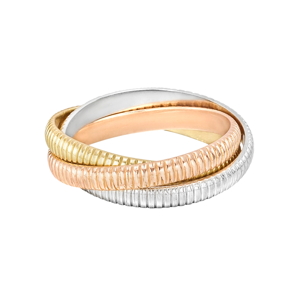 Cartier Trinity Wedding Ring: Estate Cartier 18k Tri-Colored Gold Ribbed 'Trinity' Ring