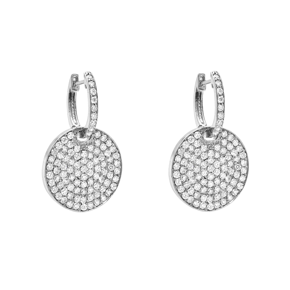 Pave Diamond Disk Earrings Disc For On Polyvore