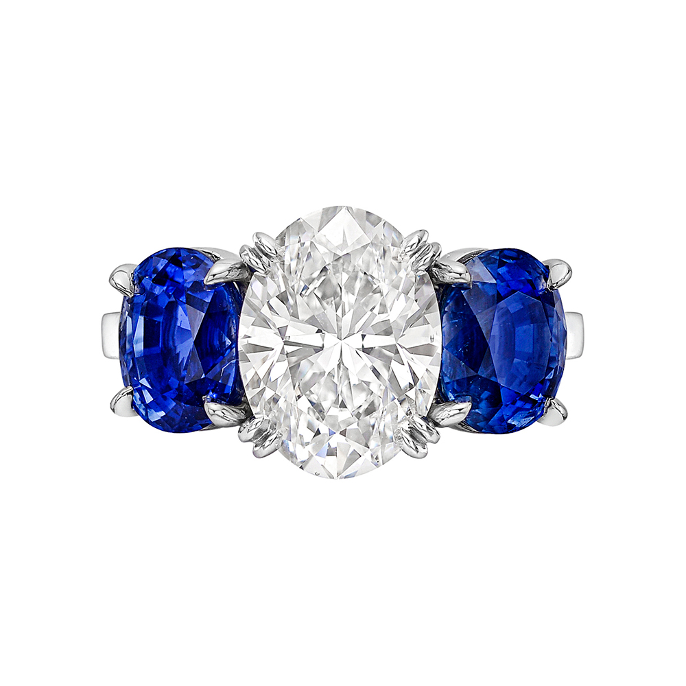 3 10 Carat Oval Cut Diamond Ring with Sapphires