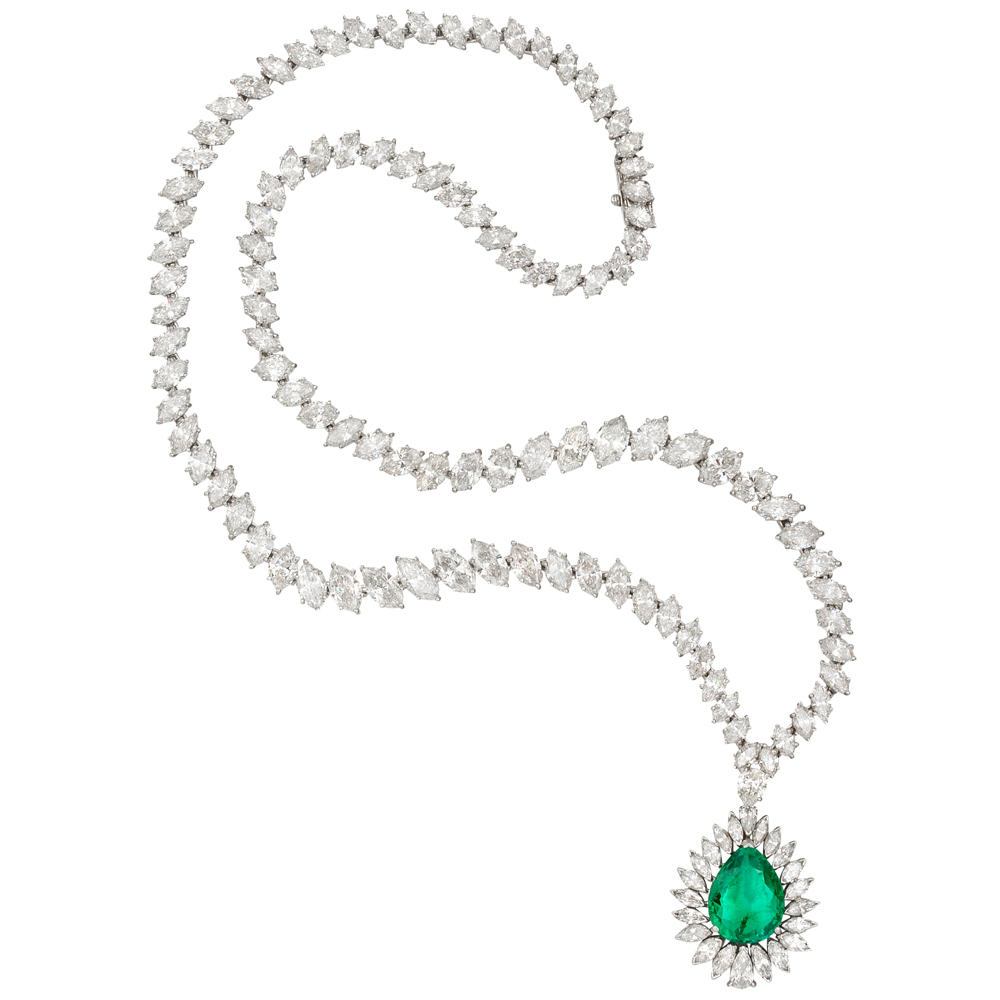 Estate Harry Winston Marquise Diamond Necklace With