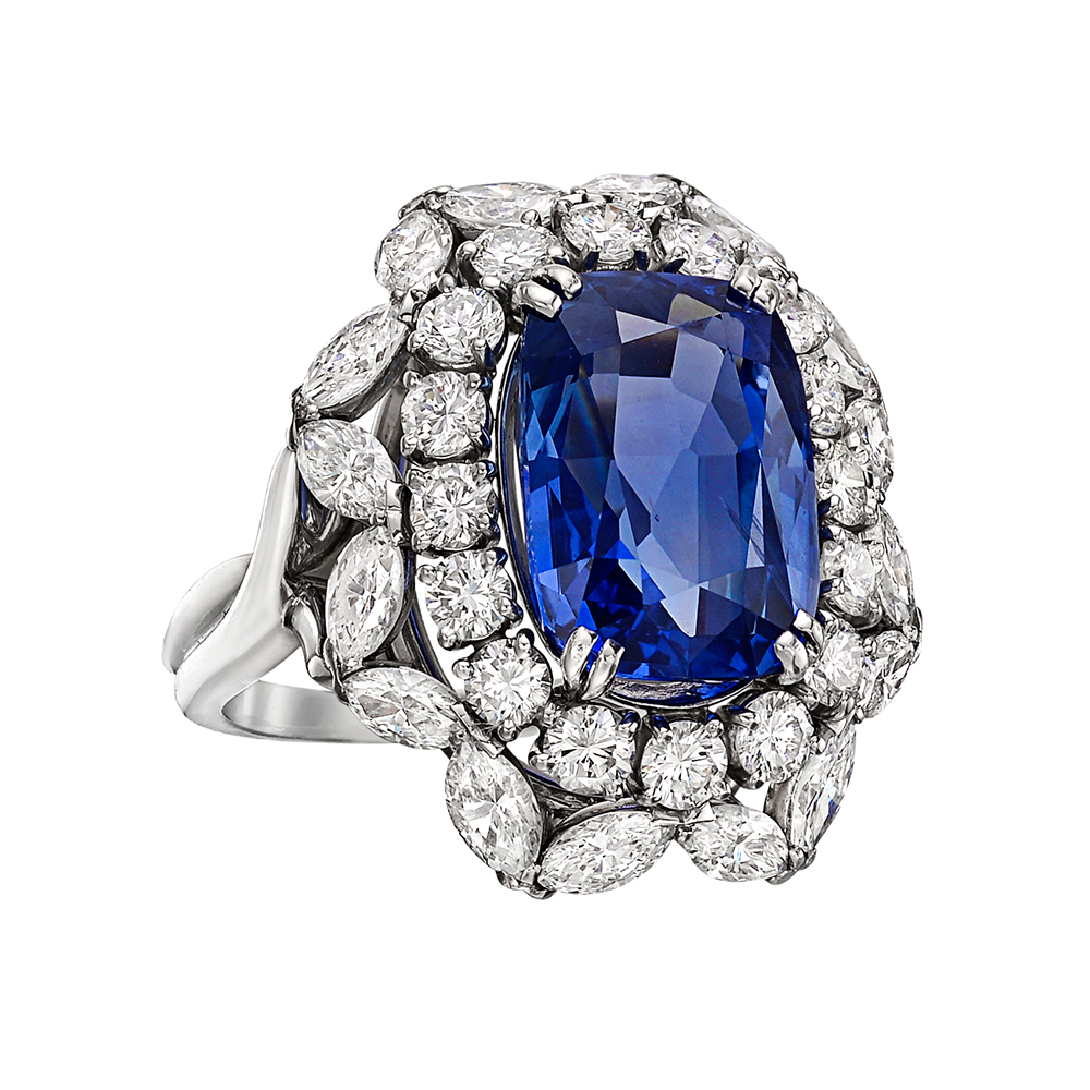 Estate Harry Winston 8 77 Carat Sapphire Amp Diamond Ring
