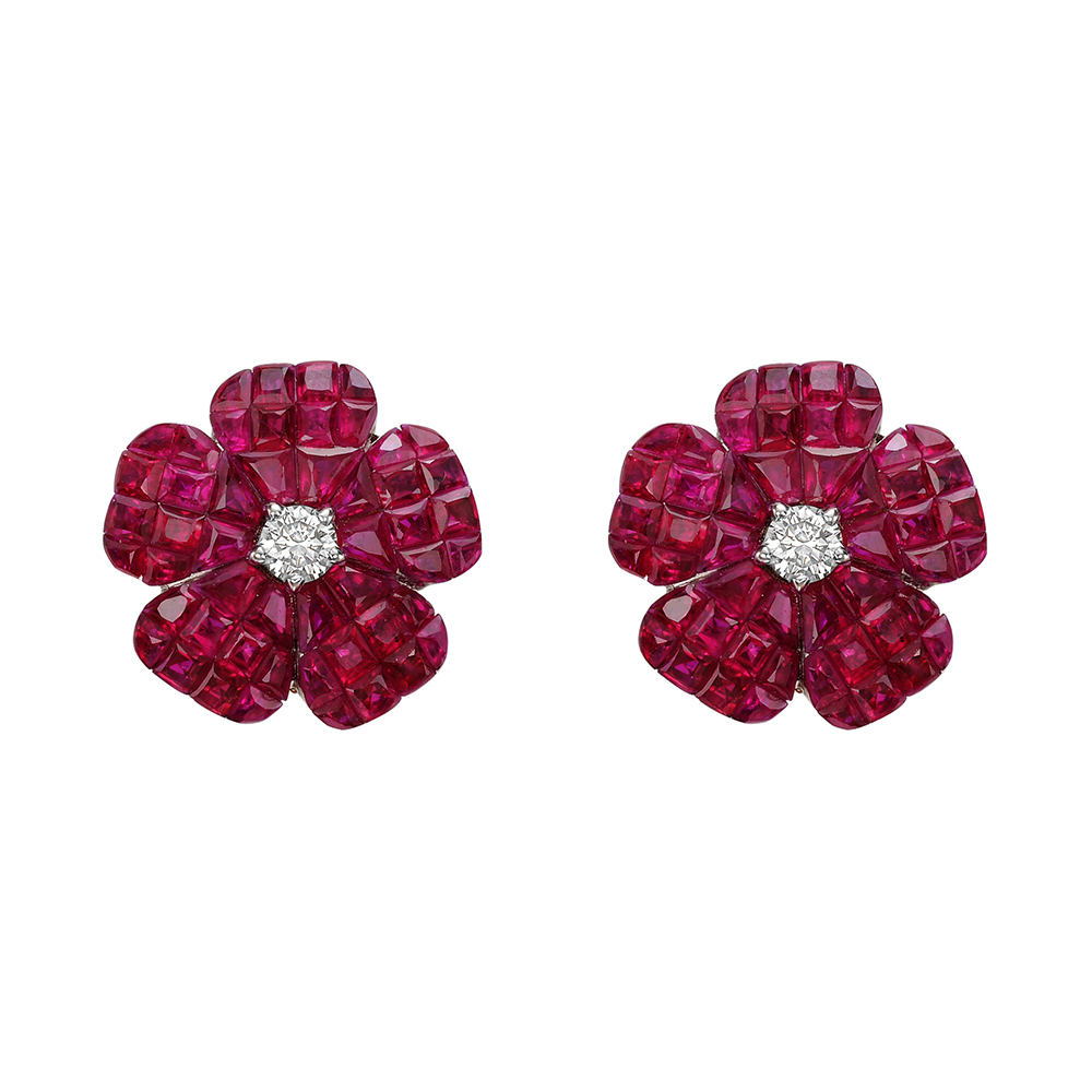 Betteridge Collection Small Invisiblyset Ruby & Diamond Flower Earrings