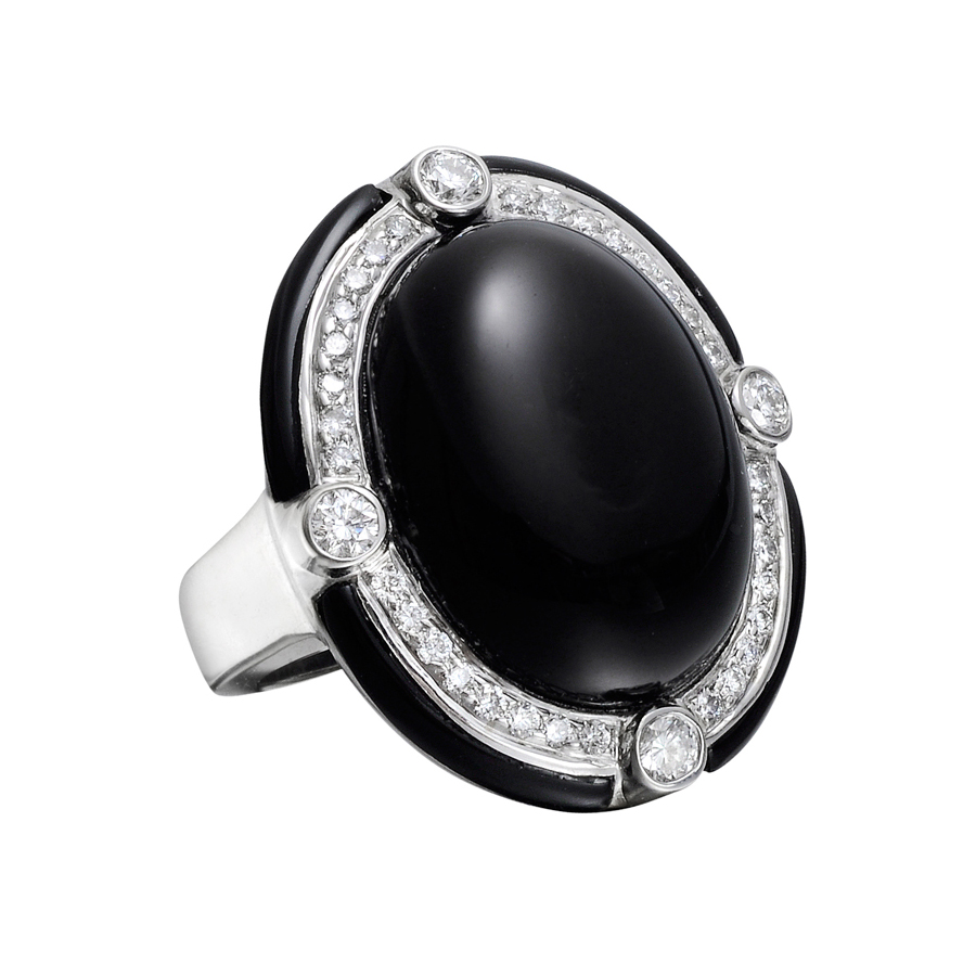 Estate Ivanka Trump Black Onyx Amp Diamond Cocktail Ring