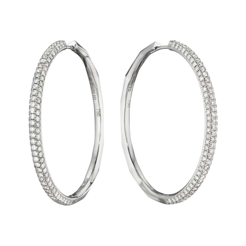 mimi so large 18k white gold diamond hoop earrings. Black Bedroom Furniture Sets. Home Design Ideas