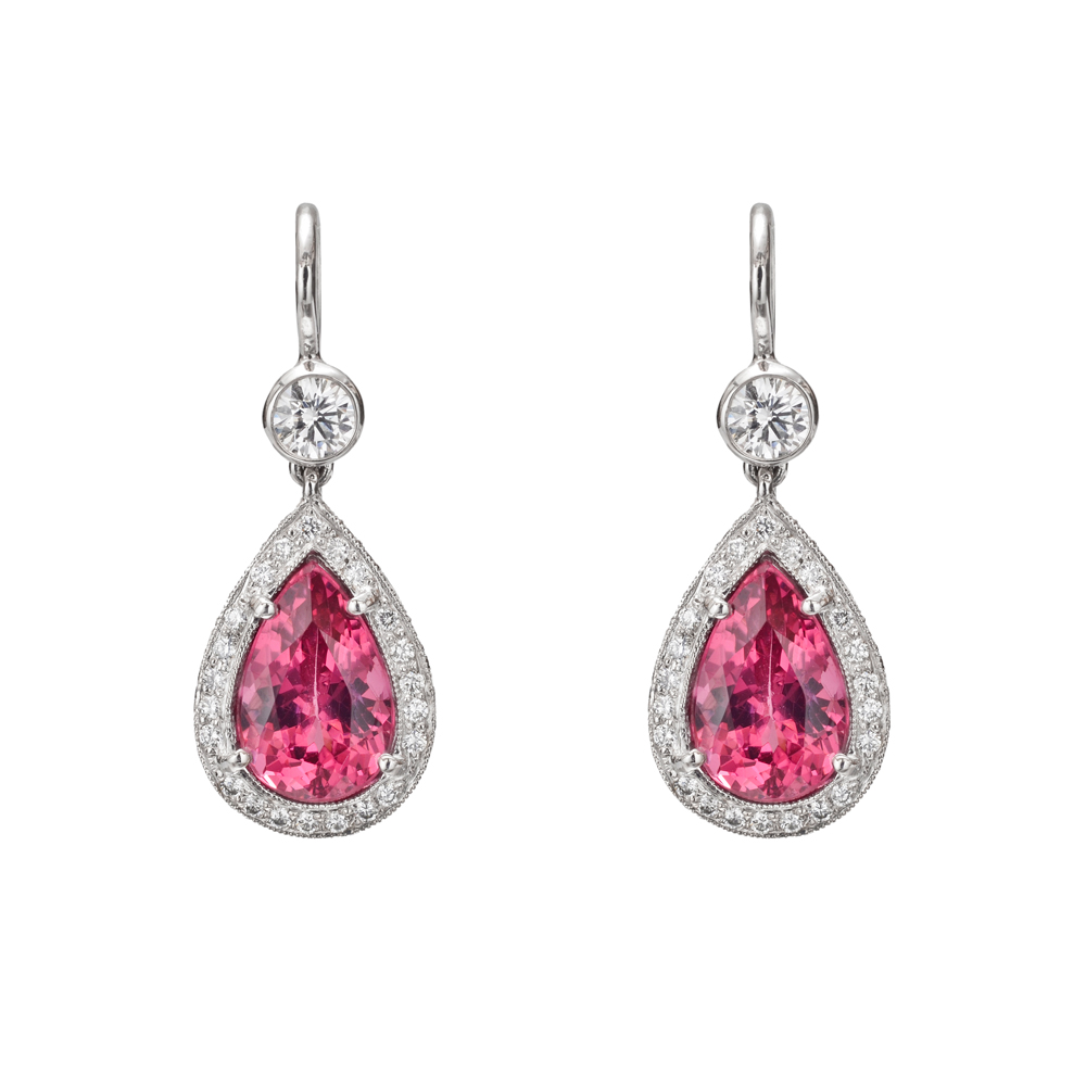 Betteridge Collection Pink Spinel & Diamond Drop Earrings