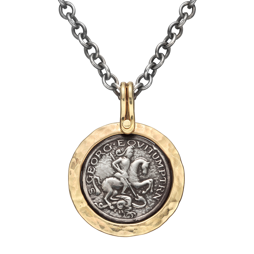 Silver Gold St George Pendant Necklace Betteridge