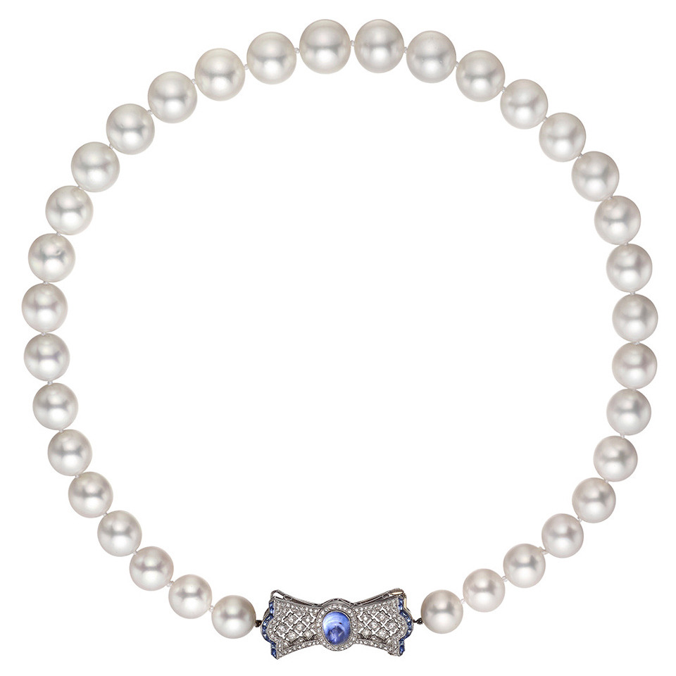 Pearl Necklace Clasp: South Sea Pearl Necklace With Gem-Set Bow Clasp