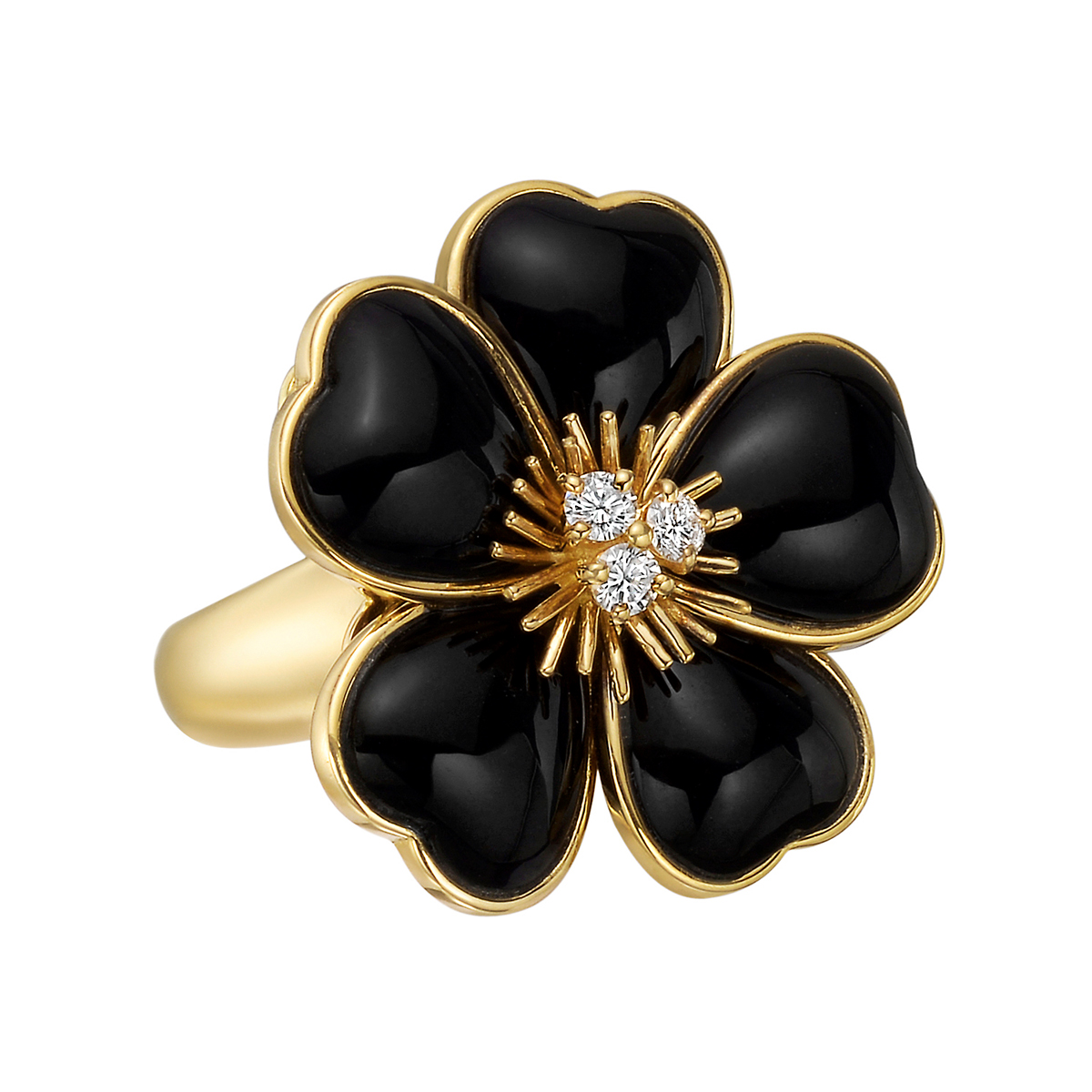 van cleef arpels black onyx rose de noel ring betteridge. Black Bedroom Furniture Sets. Home Design Ideas