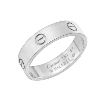 Estate Cartier Mens 18k White Gold Love Wedding Band Betteridge