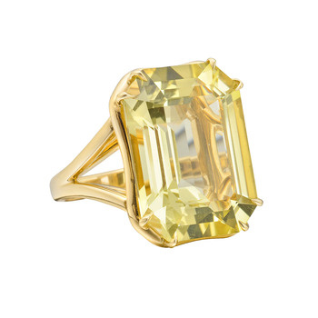 Goshwara Large Emerald Cut Lemon Citrine Cocktail Ring