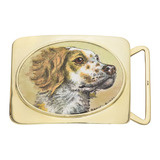 14k Gold & Enamel Hunting Dog Portrait Belt Buckle