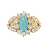 1890s Turquoise & Diamond Dress Ring