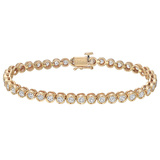 18k Yellow Gold & Diamond Line Bracelet (~4 ct tw)