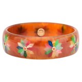 Tortoise & Multicolored Flower Inlay Bakelite Bangle with Spessartite
