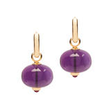 18k Gold Amethyst Bead & Rubellite Cabochon Drop Earrings