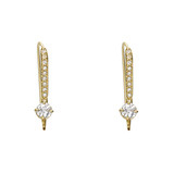 White Sapphire & Pavé Diamond Wire Earring Tops