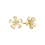 18k Gold & Diamond Orchid Stud Earrings
