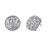 18k White Gold & Diamond Button Earrings
