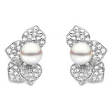 South Sea Pearl & Diamond Flower Earrings