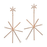 Large 18k Rose Gold & Diamond Star Stick Drop Earrings
