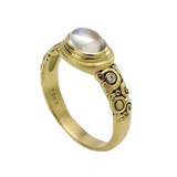 Small Moonstone Ring with Diamond