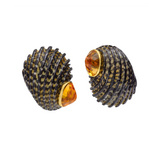 Nerita Exuvia Shell Earclips with Citrine Caps