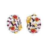 Shell Earclips with Coral & 18k Gold Stud Detailing