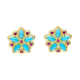 "Turquoise & Ruby ""Applique"" Stud Earrings"