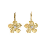 Small 18k Gold Jasmine Flower Drop Earrings with Diamond