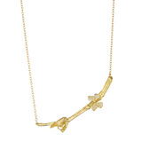 18k Gold Diamond Bird & Butterfly Twig Pendant Necklace