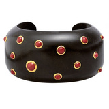 Ebony Wood Cuff with Cabochon Red Coral