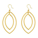 "Large ""Rachel"" 24k Gold Marquise-Shaped Drop Earrings"