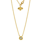 "18k Yellow Gold & Diamond ""Mini B"" Pendant Necklace"