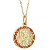 14k Gold St. Christopher Pendant with Red Enamel
