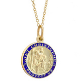 14k Gold St. Christopher Pendant with Blue Enamel