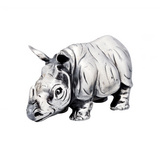 Small Silver Rhino Sculpture