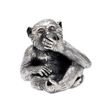 Small Silver 'Speak No Evil' Monkey Sculpture