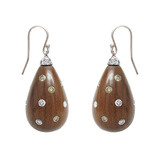 Rosewood & Diamond Drop Earrings