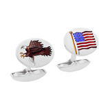 18k White Gold American Flag & Eagle Cufflinks