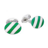 Silver Green & White Striped Cufflinks