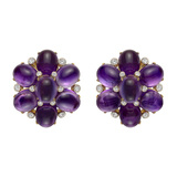 Amethyst & Diamond Cluster Earrings