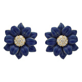 Blue Enamel & Diamond Flower Earrings