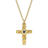 "18k Yellow Gold, Sapphire & Diamond ""Sea"" Cross Pendant"