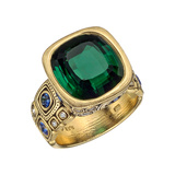 9.98 Carat Green Tourmaline Cocktail Ring